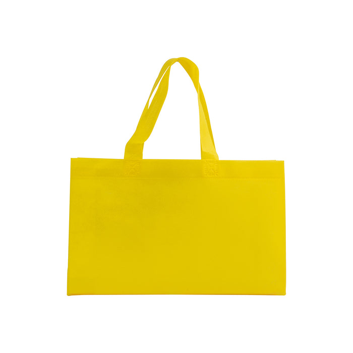 Heat-sealed 70 g/m2 non-woven fabric shopping bag with bottom gusset and long handles. Product size 32 X 20 X 9 CM (HANDLES: 41 X 3 CM)