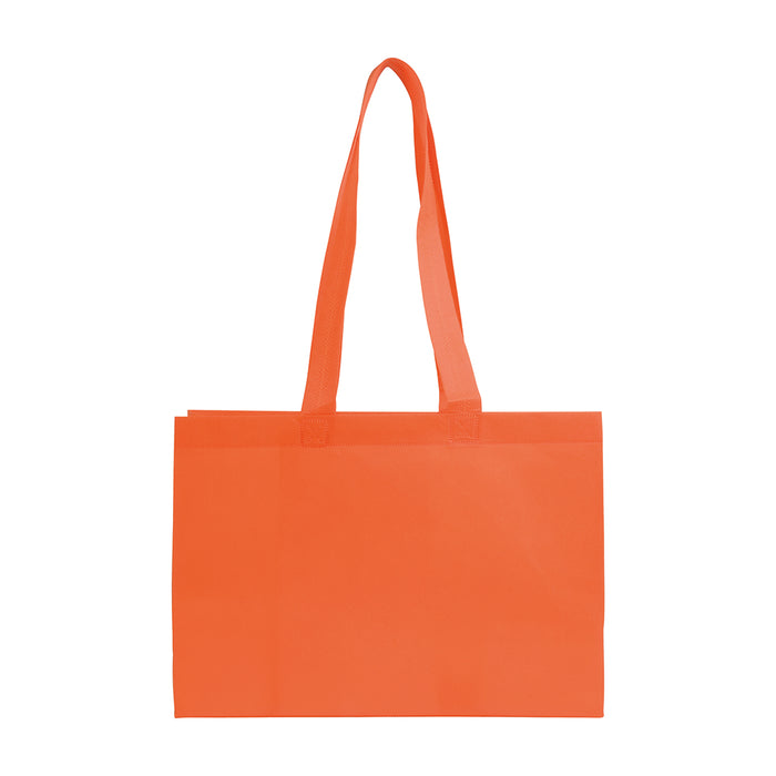 Heat-sealed 70 g/m2 non-woven fabric shopping bag with bottom gusset and long handles. Product size 35 X 25 X 10 CM
