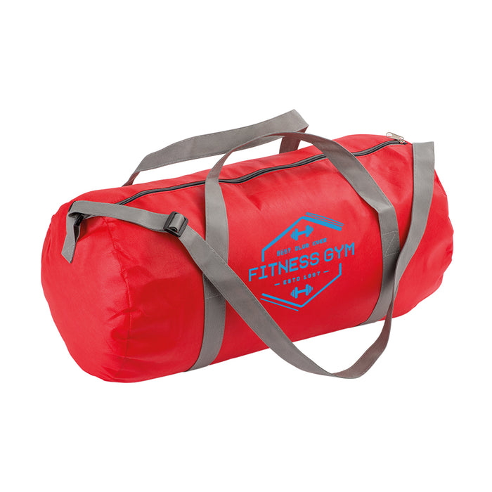 Non-woven fabric duffel bag with adjustable shoulder strap. Product size DIAM 25 CM / 50 CM Length