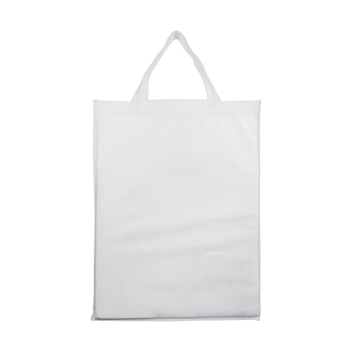 Heat-sealed 80 g/m2 non-woven fabric foldable shopping bag with gusset and short handles. Product size 32 X 42 X 13 CM
