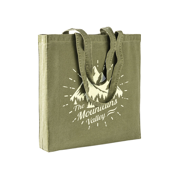 220 g/m2 stonewashed cotton shopping bag with gusset and long handles. Product size 38 X 42 + 8CM