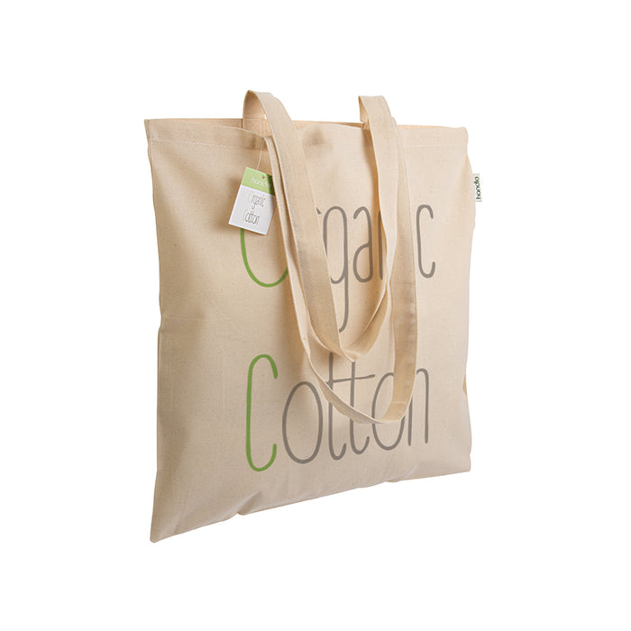 140 g/m2 organic cotton shopping bag, long handles. Product size 38 X 42 CM (HANDLES: 70 CM)