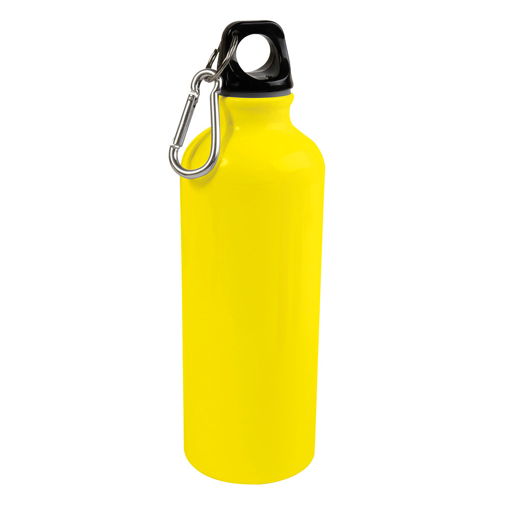 Aluminium water bottle (500 ml) with plastic lid and snap hook (22 cm tall, 6.5 cm diameter), FLUORESCENT colours