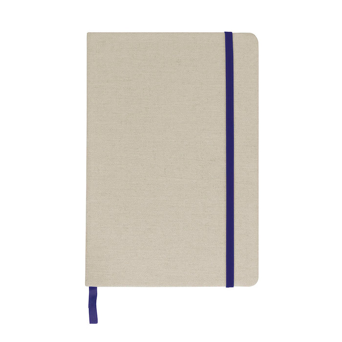 Note book with Canvas cover and elastic band for closing. Product size 9 X 15 CM
