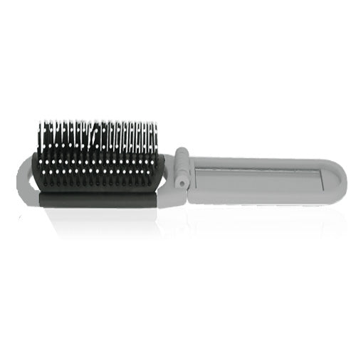Folding brush with mirror
