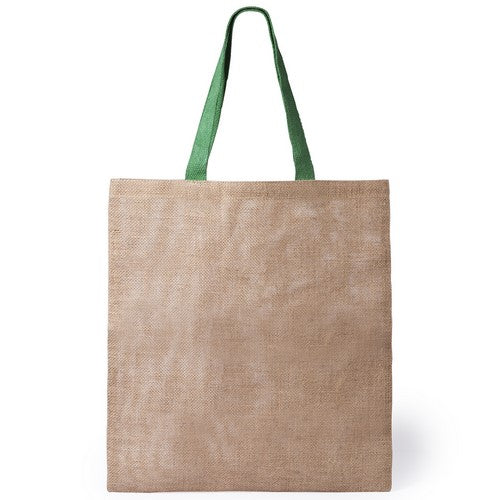 Ecological jute bag with body in natural color and medium handles of 52cm in green color