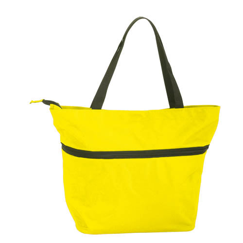 Extensible shopping bag in resistant 600D polyester of varied range in bright tones