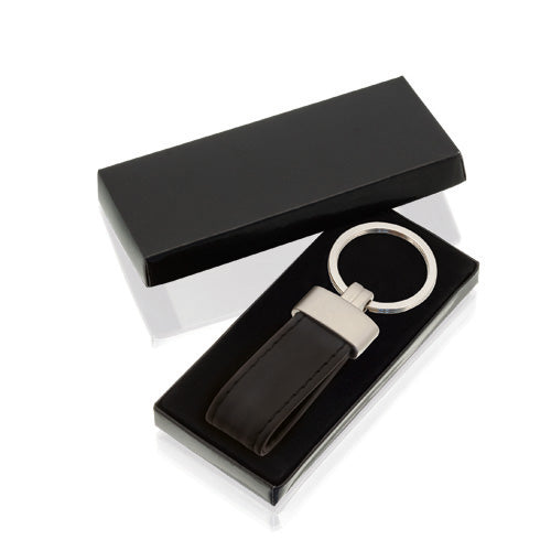 Keychain with body in combination of metal and PU leather