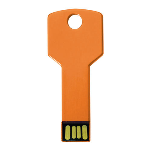 4GB USB flash drive in the shape of a key, with glossy aluminum finish and designed to carry on the keychain