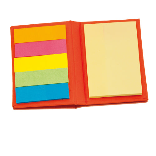 Sticky notepad with soft-touch covers in resistant, rigid recycled cardboard in a wide range of tones