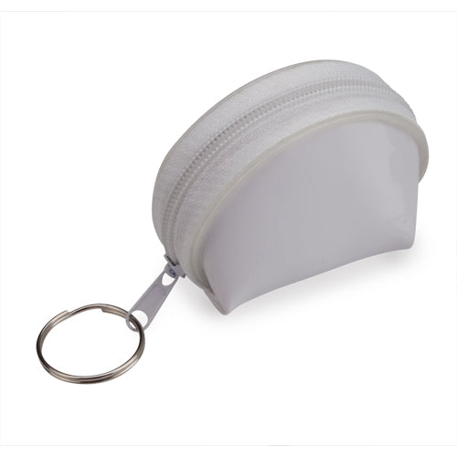 Keychain coin purse of semicircular design in material 100% PVC of varied and bright tones