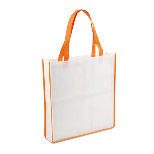 Non-woven bag in 90g/m2, in combination of body in white color with piping and handles in varied bright tones
