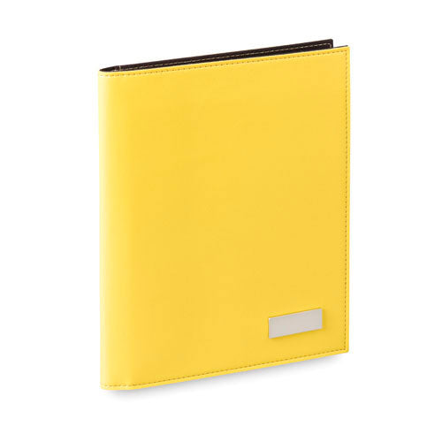 Folder in bright tones in soft PU leather, with outside metal plate