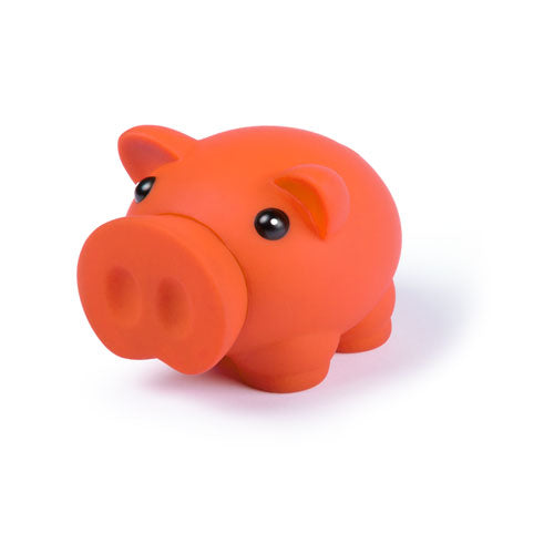 Piggy bank with soft rubber finish in bright tones
