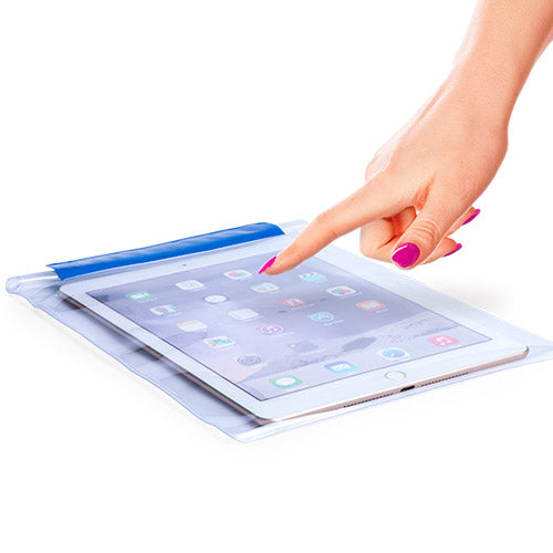 Practical waterproof, multi purpose, XL size, PVC bag with tactile surface, especially designed for tablets up to 9