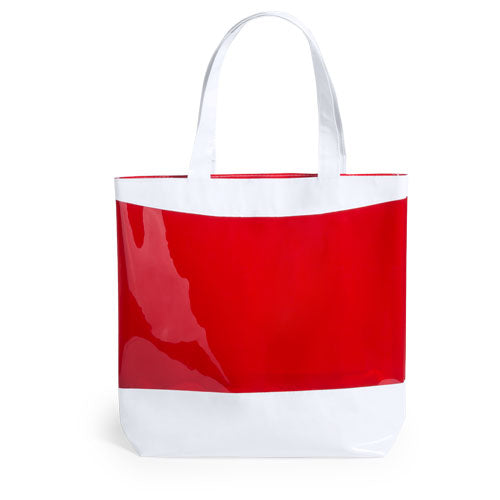 Original bag in resistant PVC with combination of body in bright tones and base and handles in white color