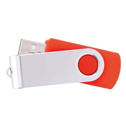 16GB USB flash drive, with twist mechanism, smooth finish body and metal clip