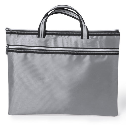Document bag with zipper closure and with front pocket in soft 300D polyester finish and in bright tones