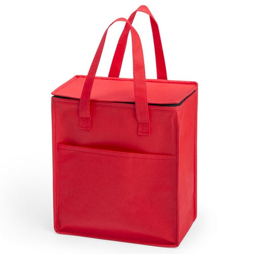 Multi purpose cooler bag in brightly colored non-woven, with zipperclosure and front pocket