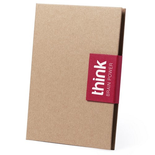 Original sticky notepad with recycled cardboard ball pen included and original flap closure in bright tones