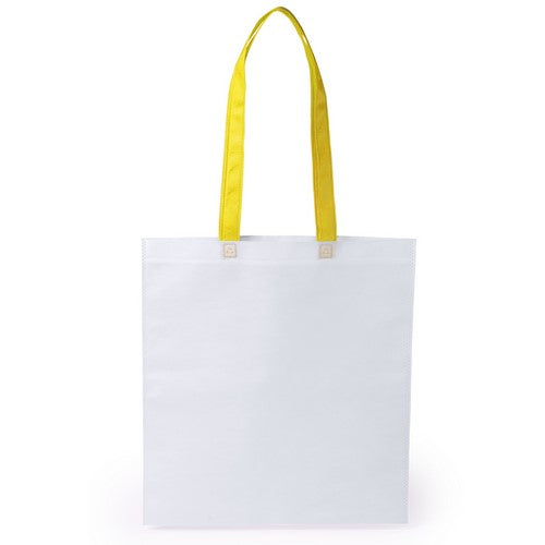 Non-woven bag in 80g/m2, in combination of white body with handles in varied bright tones