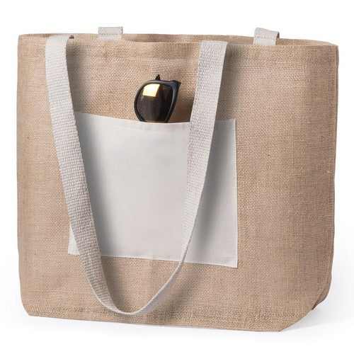 Jute bag with cotton front pocket