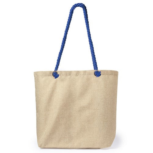 Bag in polyester with natural bicolor finish