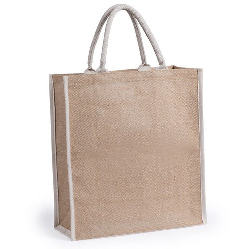 Jute bag with short white, reinforced cotton handles