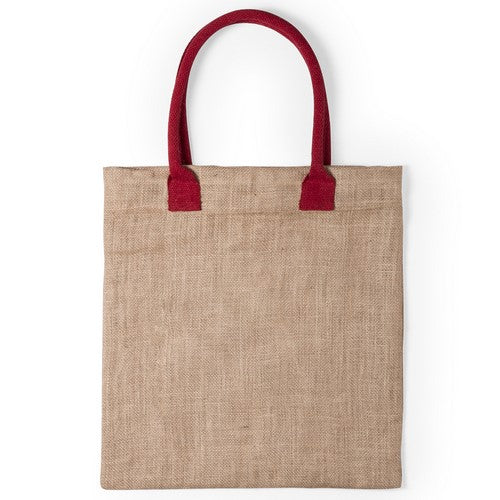 Jute bag with medium size, reinforce cotton handles, in a wide range of bright tones
