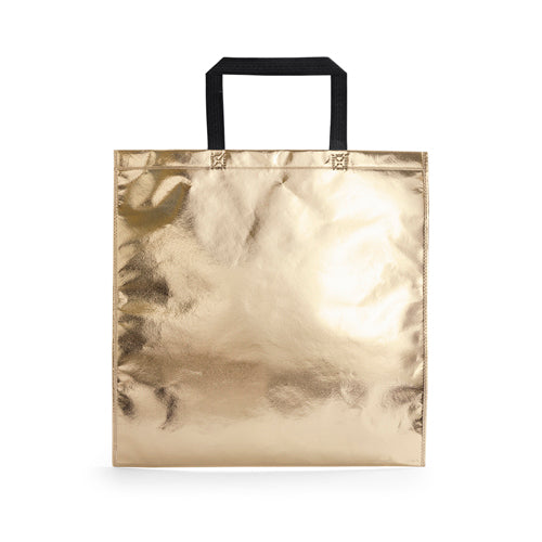 Bag in non-woven with lamination material and metallic finishing