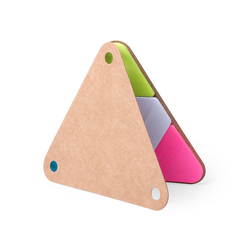 Sticky notepad with bold triangular design and soft-soft-touch covers in resistant recycled cardboard