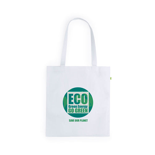 Eco-friendly bag in highly resistant bamboo fibers With 70cm, long handles and stitched finishing