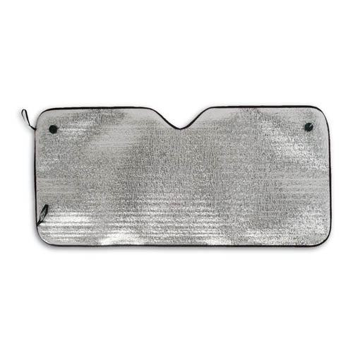 Sunshade in aluminum on one side in silver metallic finish with polyester edges in bright tones