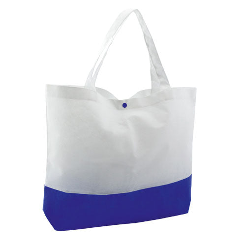 Non-woven bag in 90g/m2 with combination of white body and base and closing bracket in a wide range of bright tones