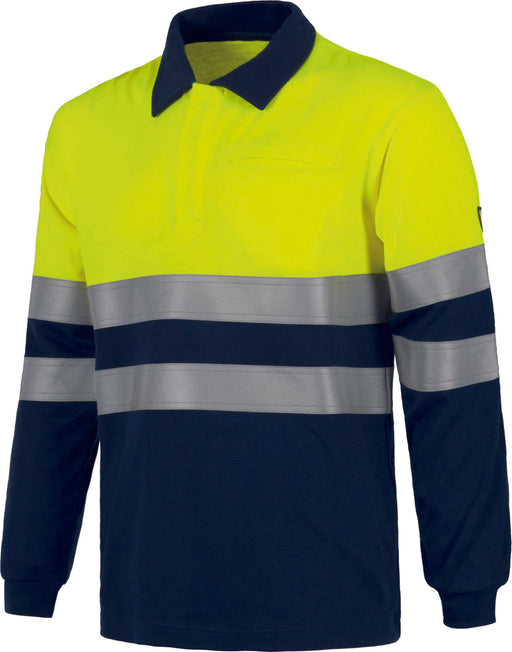 Bi-Colour Long Sleeve Polo Shirts with high Visibility Stripes (EU Compliant)
