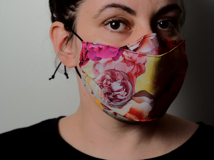 Eliza da Collage reusable face masks handmade in sydney digital prints flowers roses digital fabrics  marrickville