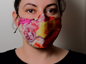 Triple Layer Face Mask - Rose Print