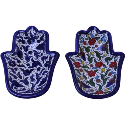 Palestinian Hamsa Ceramic Serving plate Hand of Fatima Serving Dish Hebron Ceramic Floral Hand Painted Plate