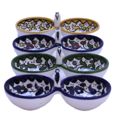 Ceramic Serving Bowl With Handle Hand painted Floral Bowl
