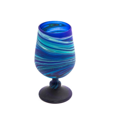 Blue Tumbler Glass Cup Hand Blown Phoenician Hebron Glassware Made in Palestine
