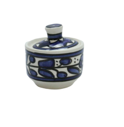 Hebron Ceramic Sugar Container Blue Hand painted Floral