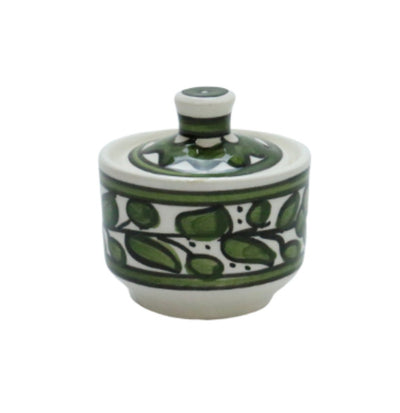 Ceramic Sugar Container green Hand painted Floral
