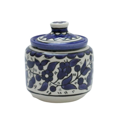 Hebron Ceramic Sugar Container Navy Blue Hand painted Floral