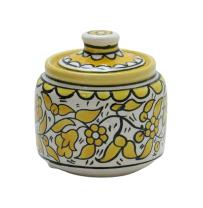 Hebron Ceramic Sugar Container yellow Hand painted Floral