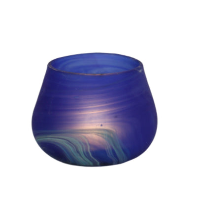 Hebron Glass Blue Candle Container