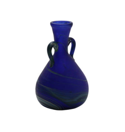 Blue Glass Pitcher with Two Handles