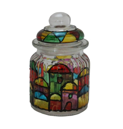 Hebron Glass Sugar Container Hand painted Colorful Houses