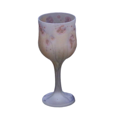 Grey Wine Glass With Golden Roses Crystal Goblet Glass Phoenician Hebron Glass Cup Palestinian Art