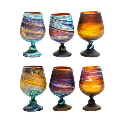 Wine Glasses Goblet Glassware Set 6 Glasses Hand Blown Hebron Glass
