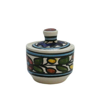 Hebron Ceramic Sugar Container Hand painted Floral